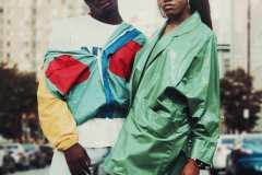 Franklin, wearing 80's washed-out denim, 90's NYC t-shirt, 90's colour-blocked vinyl windbreaker. Diane, wearing 80's green vinyl jacket.