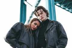Grace, wearing 80's leather bomber jacket, vintage Harley Davidson t-shirt and late 90's leather boots. Jack, wearing black Levi's denim jeans, 80's black leather biker jacket.