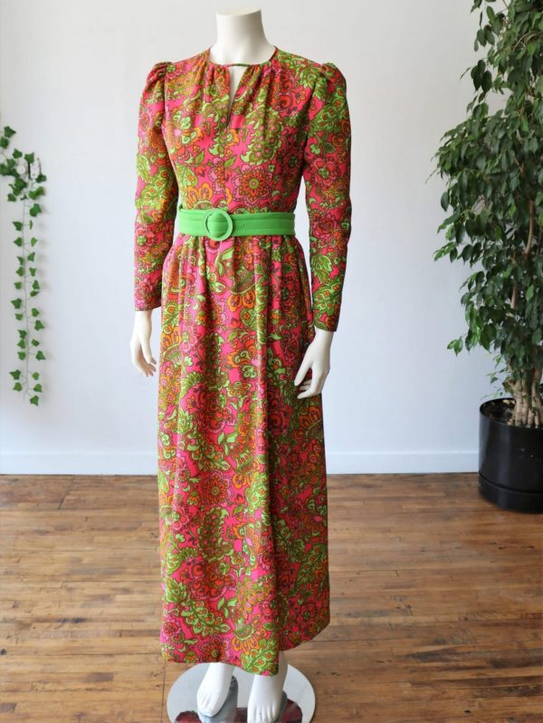 Vintage 70's Psychedelic Hippie Printed Maxi Dress - Long Sleeve - Belted - Hand Made