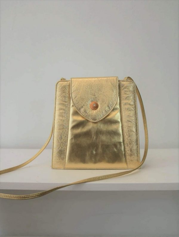 80's Structured-Square Gold Lemay Purse