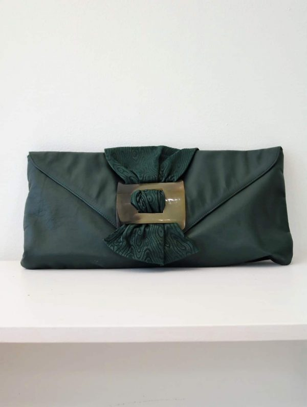 80's Green Leather Clutch With Oversized Buckle