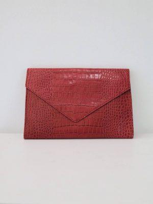 "90's-00's ""Danier"" Red Snake Print Envelope Bag / Clutch"