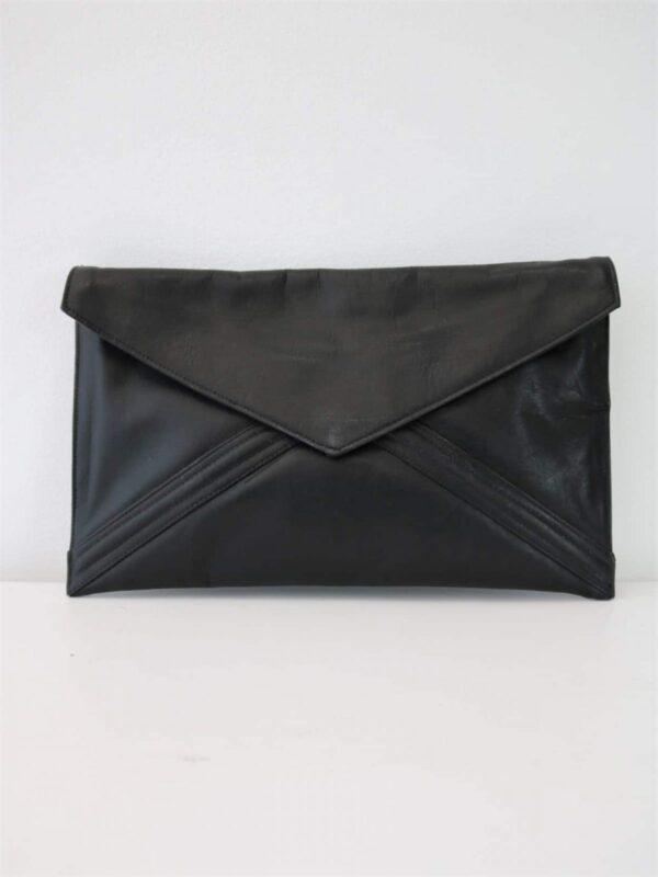 80's-90's Basic Black Leather Envelope Bag - Removable Straps