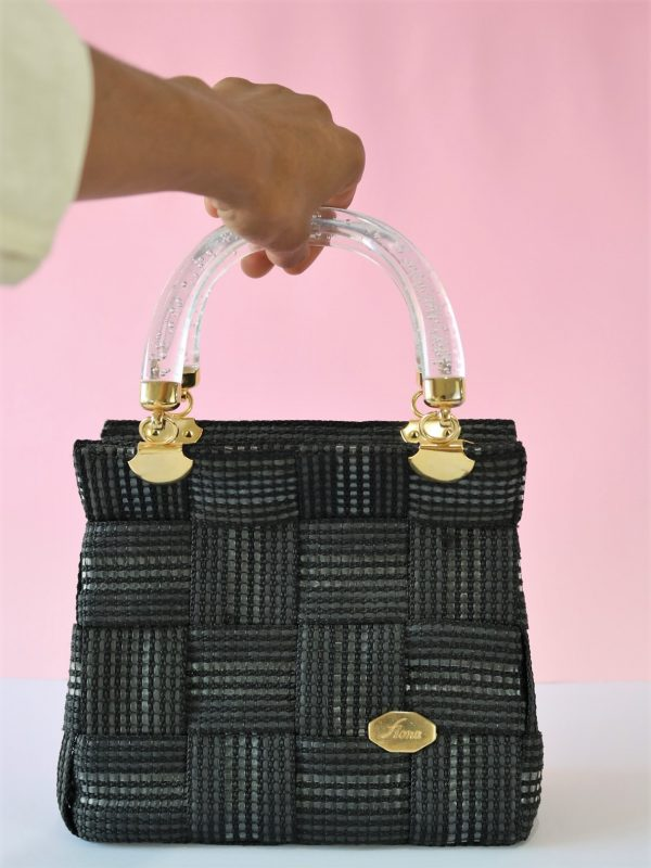80's-90's Woven Structured Mini Handbag - Made in Italy - Transparent Resin Handles