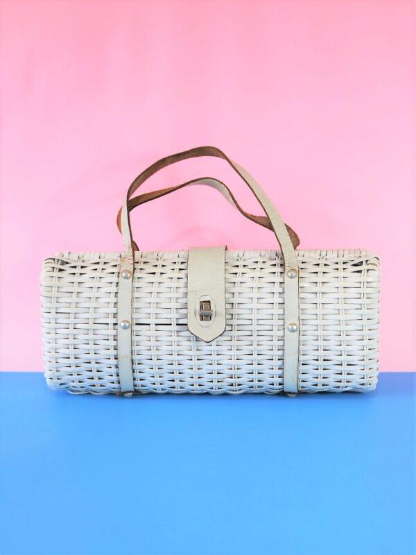 70's White Wicker Barrel Handbag with Leather Straps